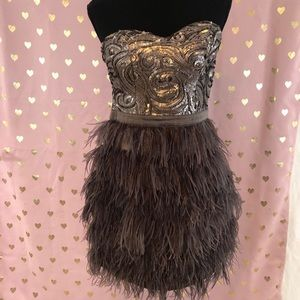 BEBE sequined and feathered strapless mini dress